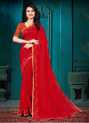 Silk Red Lace Designer Traditional Saree