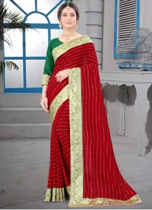 Silk Red Patch Border Classic Saree