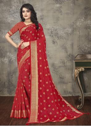 Silk Red Printed Saree