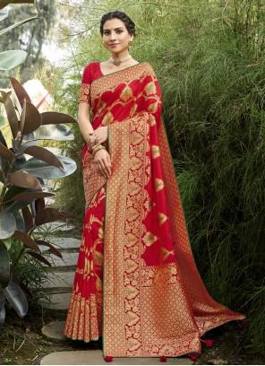 Silk Red Swarovski Designer Traditional Saree