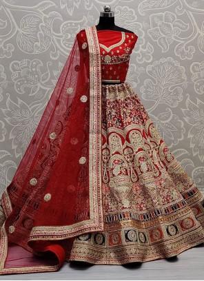 Silk Red Thread Work Lehenga Choli