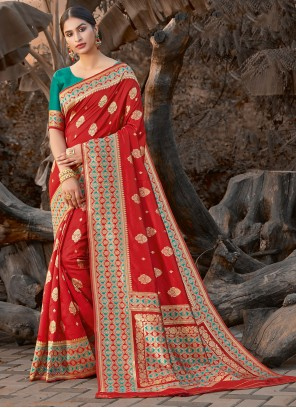 Silk Red Embroidered Traditional Saree