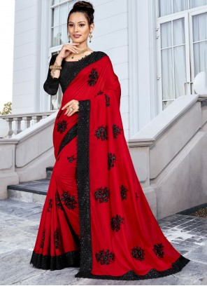 Silk Red Trendy Saree