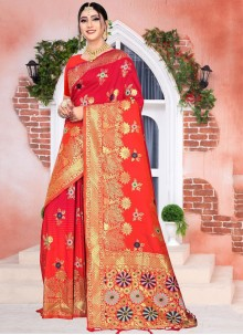 Silk Red Weaving Designer Saree