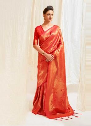 Silk Red Weaving Traditional Designer Saree