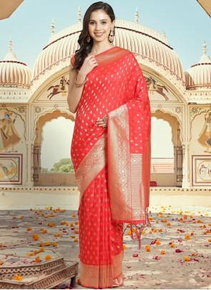 Silk Red Woven Traditional Designer Saree