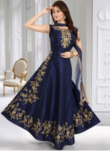 Silk Resham Anarkali Suit