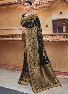 Silk Resham Classic Designer Saree in Black