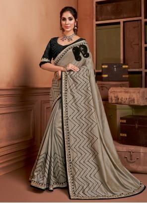 Silk Resham Contemporary Saree in Grey