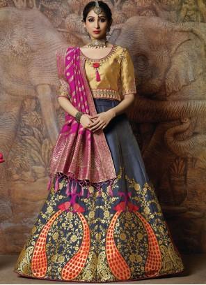 Navy Blue Silk Resham Designer Lehenga Choli