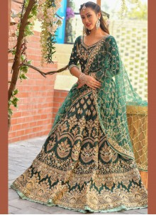 Silk Resham Designer Lehenga Choli in Green
