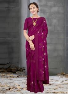 Silk Resham Wine Designer Traditional Saree