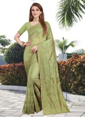 Silk Resham Green Contemporary Saree
