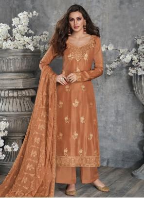 Silk Resham Orange Designer Palazzo Salwar Suit