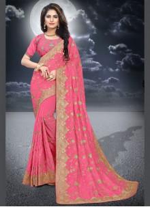 Silk Resham Pink Classic Saree