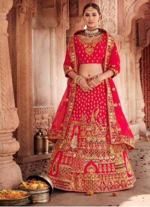 Silk Resham Trendy Red Lehenga Choli