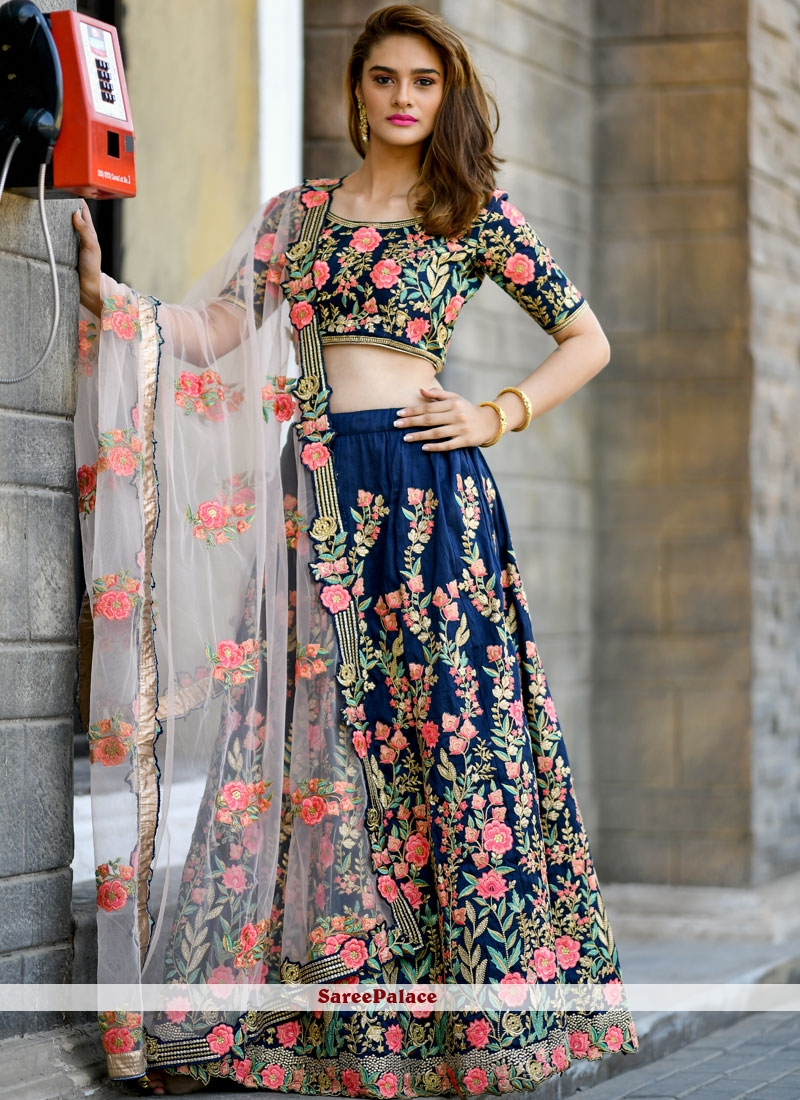 42d0a2df6a Buy Silk Resham Trendy Lehenga Choli in Navy Blue Online