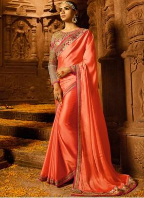 Orange Silk Resham Work Trendy Saree