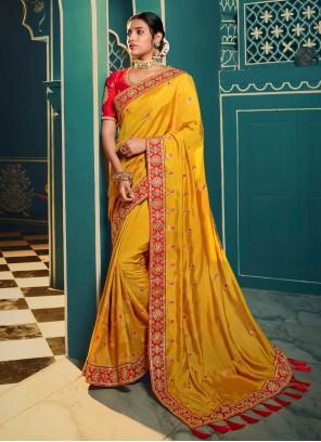 Silk Resham Yellow Classic Saree