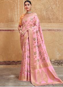 Silk Rose Pink Resham Silk Saree