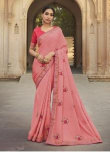 Silk Rose Pink Traditional Saree