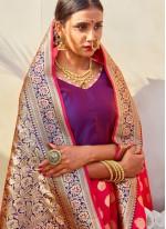 Silk Rose Pink Weaving Traditional Saree