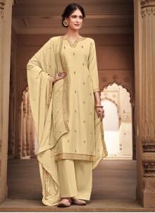 Silk Cream Salwar Kameez