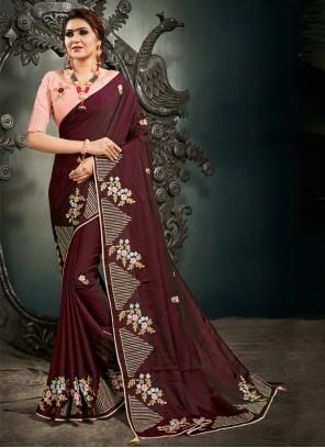 Silk Sangeet Designer Wine Saree