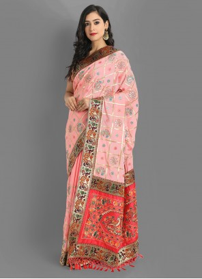 Festival Silk Saree Embroidered in Pink