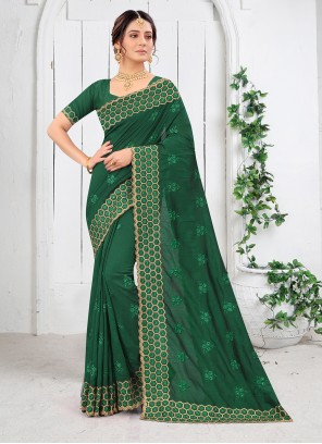 Green Embroidered Silk Saree For Engagement