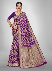 Purple Weaving Zari Silk Saree For Mehndi