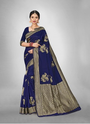Festival Saree Weaving Art Silk in Blue