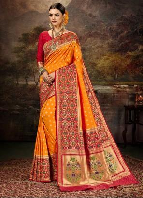 Saree Weaving Banarasi Silk in Yellow