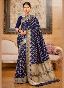 Navy Blue Weaving Silk Saree