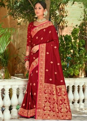 Red Weaving Zari Silk Saree
