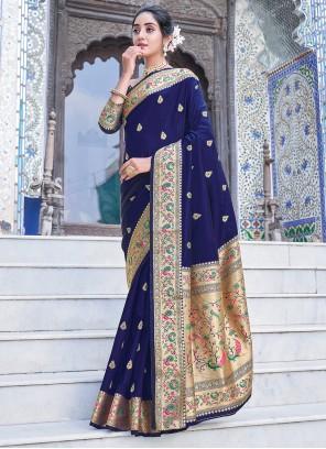 Blue Weaving Zari Silk Saree