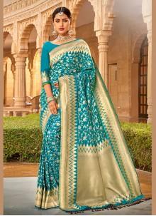 Art Silk Saree in Aqua Blue