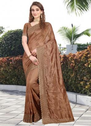 Silk Stone Brown Bollywood Saree