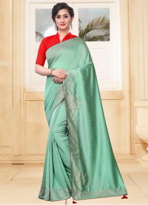 Silk Stone Green Classic Saree