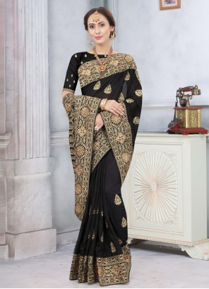Silk Stone Traditional Designer Saree in Black
