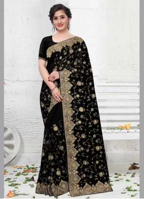 Black Silk Stone Trendy Saree