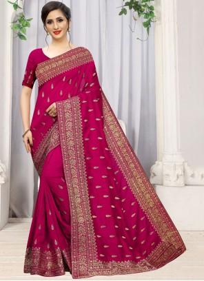 Silk Stone Work Magenta Designer Traditional Saree