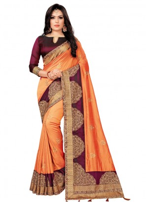 Silk Stone Work Orange Classic Saree