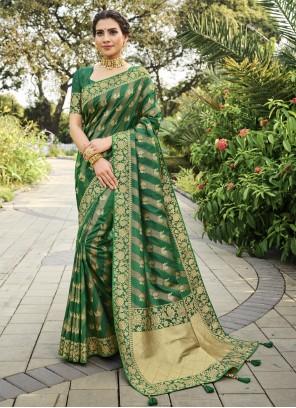 Silk Swarovski Designer Green Traditional Saree