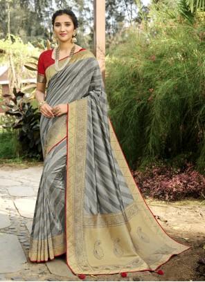 Silk Swarovski Designer Traditional Saree in Grey