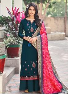 Silk Teal Designer Palazzo Suit