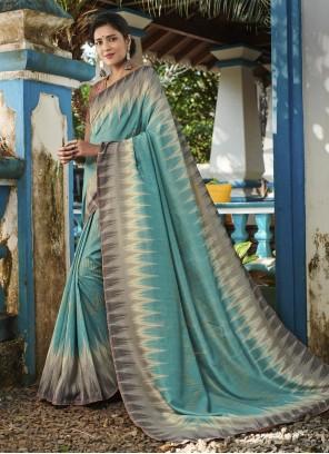 Silk Teal Designer Saree