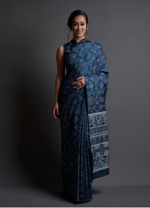 Silk Teal Printed Saree