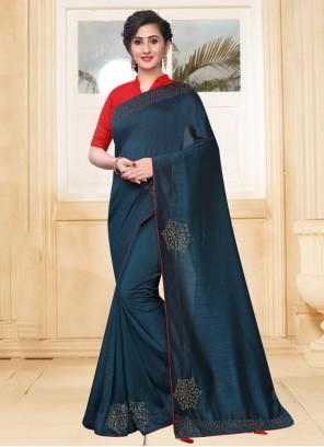 Silk Teal Stone Classic Saree