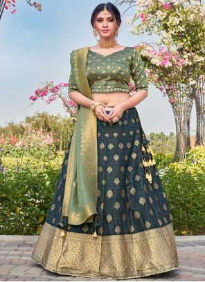 Silk Teal Weaving Bollywood Lehenga Choli